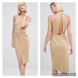 Lavish Alice | Camel Wrap Front Sheath Dress